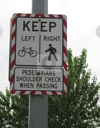 Cyclist and pedestrian sign stock photo, Cyclist and pedestrian sign by Mbudley Mbudley