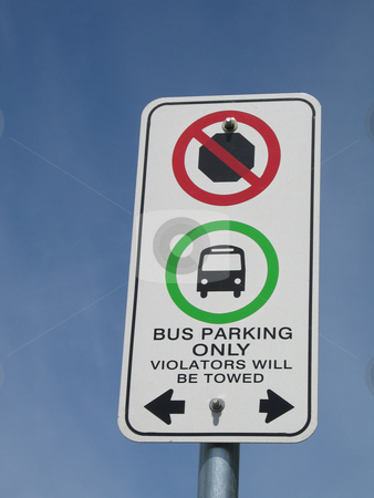 Bus parking sign against blue sky stock photo, Bus parking sign against blue sky by Mbudley Mbudley