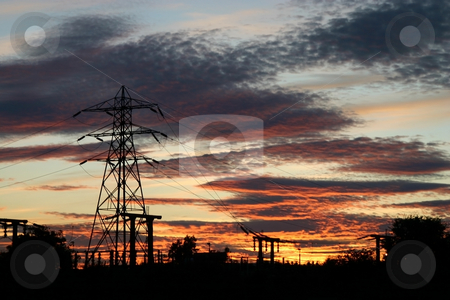 Pylon Sunset stock photo, Electricity pylon in silhouette set against a beautiful red sunset by Steve Smith