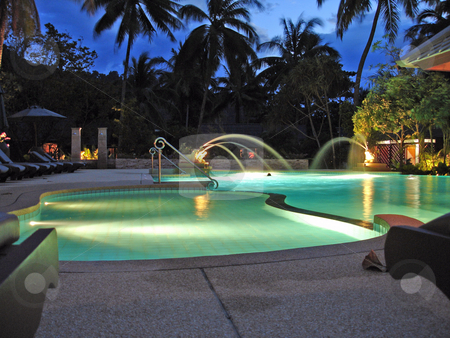 Nighttime pool stock photo, A pool in Thailand at night by Per W?