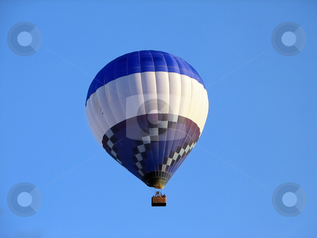 Up and away stock photo, A blue and white balloon against the sky by Per W?