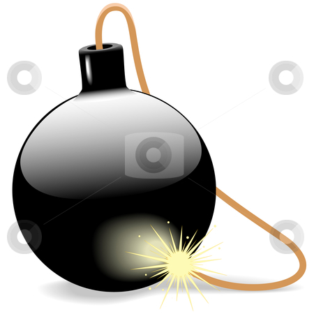 Explosive Black Ball Bomb with Burning Fuse stock vector clipart, Need an shiny black ball bomb with a burning fuse on white? This baby's ready to explode. by Michael Brown