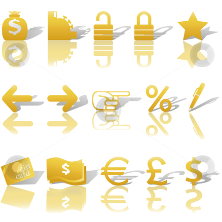 Finance Money Website Navigation Icons Reflections Shadows Set G stock vector clipart, A gold set of Finance, Money, and Website Navigation icons for internet business and communications, with reflections and shadows. by Michael Brown