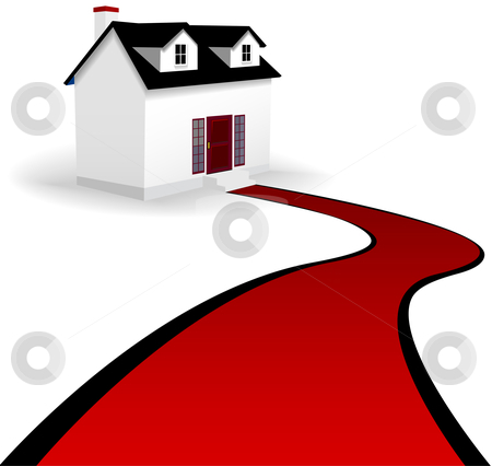 Home with Red Carpet Driveway to the House stock vector clipart, A home with two dormer windows and a winding red carpet driveway to the steps of the house. On white. by Michael Brown