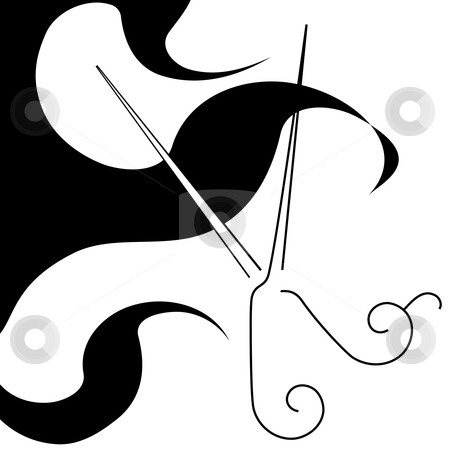 5d9314484b6 Salon style hair cut scissors & curls symbol stock vector
