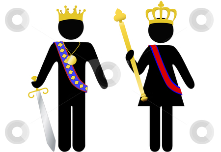 Symbol person royal king and queen with crowns stock vector clipart, Symbol people royal king and queen with crowns, scepter, sword. The customer is king, or queen. by Michael Brown