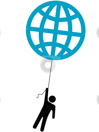 Earth person rises lifted by a globe balloon stock vector clipart, An Earth person rises up lifted into the sky by a globe balloon on a string. by Michael Brown