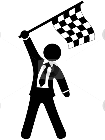 Business man celebrates victory waves checkered flag stock vector clipart, A champion business man waves a checkered flag to celebrate winning a victory. by Michael Brown