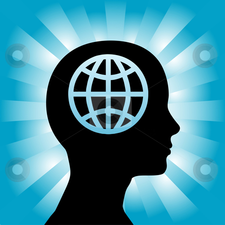 Head Woman Profile Thinks a Globe on Blue Rays stock vector clipart, A globe in the head of a silhouette woman as she thinks globally. by Michael Brown