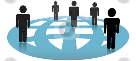 Symbol People Connections on Blue Globe Network stock vector clipart, A group of symbol people connected on a blue globe. by Michael Brown