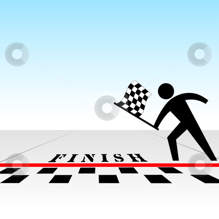 You win race & get checkered flag at finish line stock vector clipart, From your perspective, you a win race & get the checkered flag at the finish line. by Michael Brown