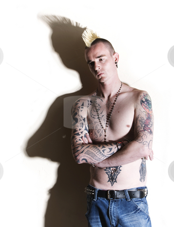 Punk with tattoos stock photo,  by Scott Griessel