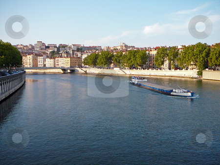 Waterway stock photo, A boat on the river through Lyon, France by Per W?
