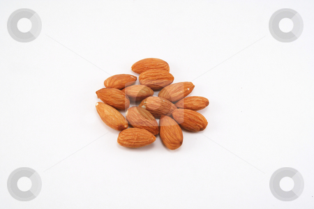 Shelled Almonds stock photo, Group of whole almonds isolated on white by Rosi Berry