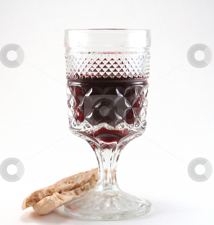 Red Wine with bread stock photo, Glass of red wine with a piece of bread isolated on a white background by Rosi Berry