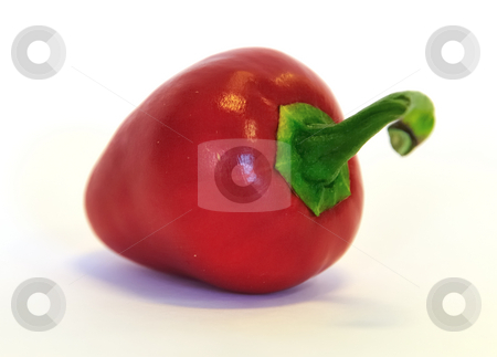 Cherry chili against white stock photo, Red cherry chili pepper against white by Per W?