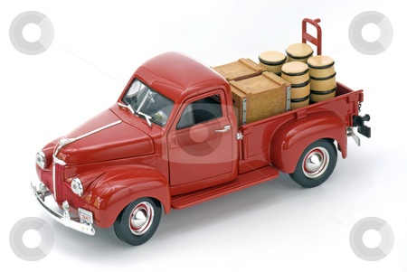 Red Truck stock photo, Red Truck with Cart and Barrels on an Isolated Background by Brian Shephard