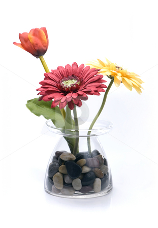 Artificial flowers stock photo, Artificial flowers on isolated white by Brian Shephard