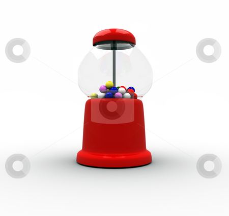 Gumball Machine stock photo, 3D Rendering of a Red Gumball Machine on an Isolated White Background by Brian Shephard