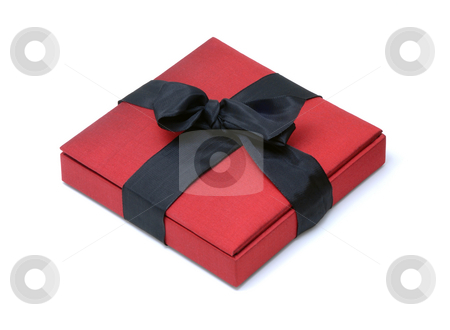 Red Box stock photo, Red Silk Gift Box with a Black Ribbon Bow on an Isolated Background by Brian Shephard