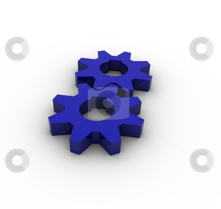 Gears stock photo, 3D Render of Reflective Blue Gears by Brian Shephard
