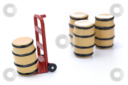 Barrels and Dolly stock photo, Barrels and Dolly on a White Isolated Background by Brian Shephard