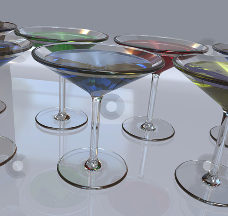 Martini Glasses stock photo, 3D render of Martini Glasses in a Row by Brian Shephard