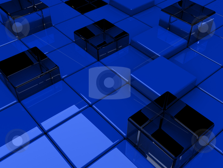 Blue Background stock photo, 3D Rendering of a Blue Square Background by Brian Shephard