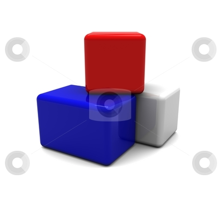 Blocks stock photo, 3D Rendering of Red, White, Blue Blocks / Squares by Brian Shephard