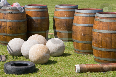 Highland Games Equipment stock photo, Scottish highland games stones and barrels by Nicholas Rjabow