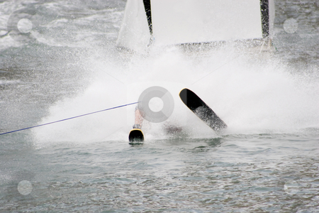 Splash Landing stock photo, A waterskier coming off a jump by Nicholas Rjabow