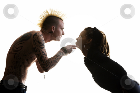 Man and Woman Arguing stock photo, Man with Mohawk and Woman wearing Dreadlocks by Scott Griessel