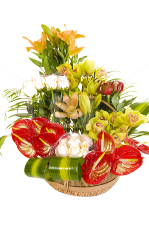 Beautiful flower arrangement stock photo, A beautiful flower arrangement consisting of various types of colorful flowers and other pieces of decoration, isolated on white. by Nicolaas Traut