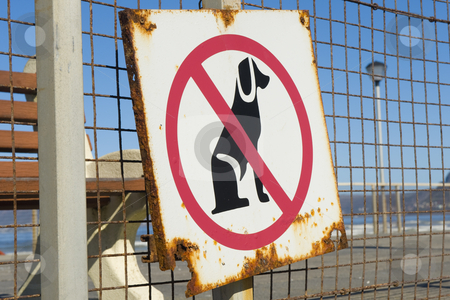 No dogs allowed stock photo, An old rusty sign, indicating that no dogs are allowed on the beach. by Nicolaas Traut
