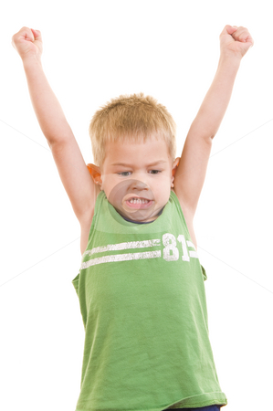 Cute little 3yr old with various facial expressions stock photo, A gorgeous little cute three year old with his arms in the air and a cute facial expression, isolated on white. by Nicolaas Traut