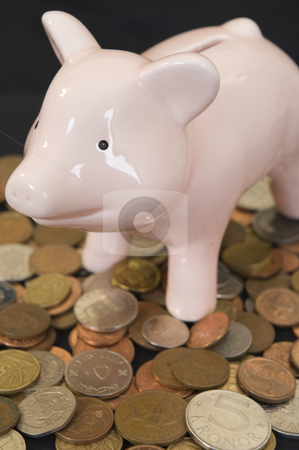 Piggybank with various currency stock photo, Piggybank with various international currencies on a black background. by Nicolaas Traut