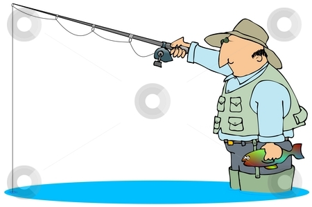 Fisherman stock photo, This illustration depicts a fisherman in waders with his line in the water. by Dennis Cox