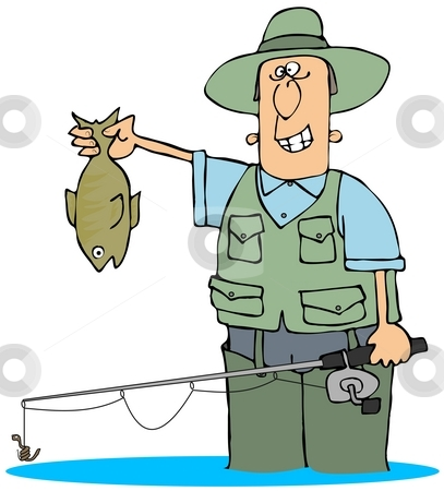Catching A Fish stock photo, This illustration depicts a fisherman holding up a large trout. by Dennis Cox