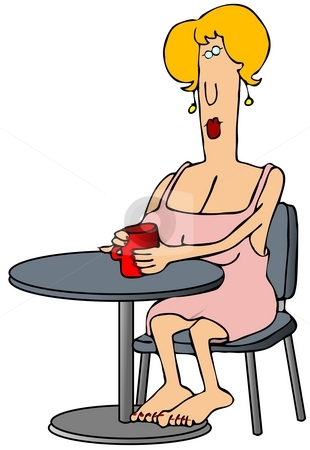 Woman Drinking Coffee stock photo, This illustration depicts a woman sitting at a table barefoot and drinking coffee. by Dennis Cox