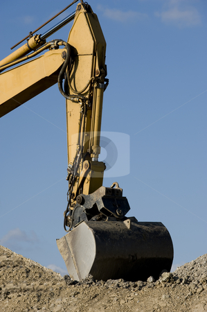 Caterpillar digger  working on road construction stock photo, Caterpillar digger  working on road construction by Flemming Jacobsen