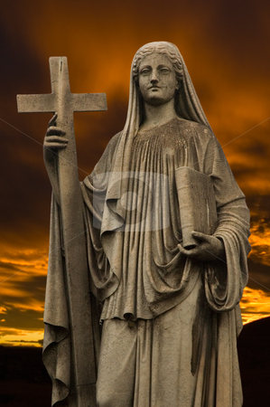 Religious statue at dusk. stock photo, Religious statue at dusk. by Pablo Caridad