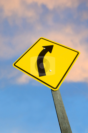 Road sign against sky stock photo, Road sign against sky at dusk with clipping path. by Pablo Caridad