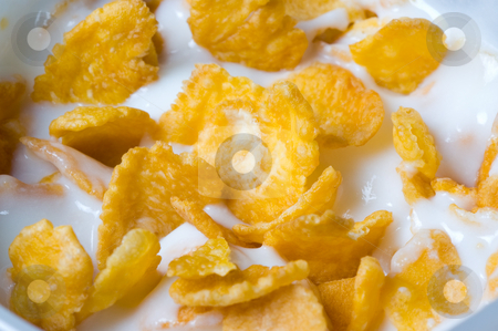 Yoghurt with cornflakes stock photo, Yoghurt with cornflakes. by Pablo Caridad