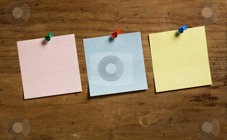 Three Notes with Tack stock photo, Three Notes with Tack on wooden board, in three different colors. by Pablo Caridad