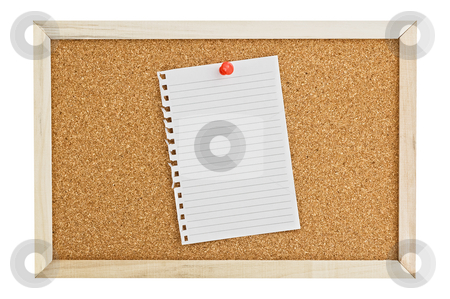 Cork Pin Board  with a sheet of paper. stock photo, Cork Pin Board  with a sheet of white paper by Pablo Caridad