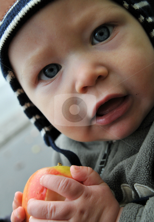 Baby boy with an apple stock photo, Baby boy outside wearing a cap and with a fresh apple in his hand by Johan Lenell