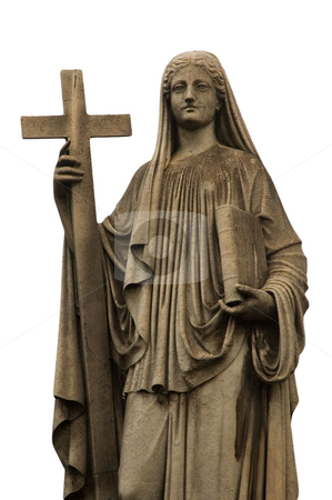 Religious statue stock photo, Religious statue, white background, Buenos Aires cemetery. by Pablo Caridad