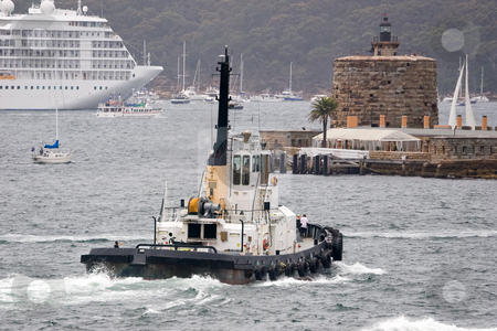 Harbour Tug stock photo, Harbour tug in Sydney with Fort Denison in the background by Nicholas Rjabow