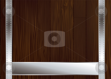 Dark wood strap stock photo, Wooden background illustrated with metal strapping and copy space by Michael Travers