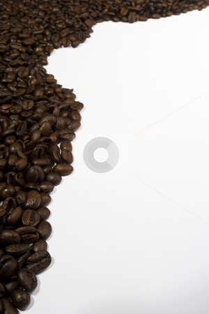 Coffee Bean Border stock photo, A portrait format border of espresso coffee beans by Steve Smith